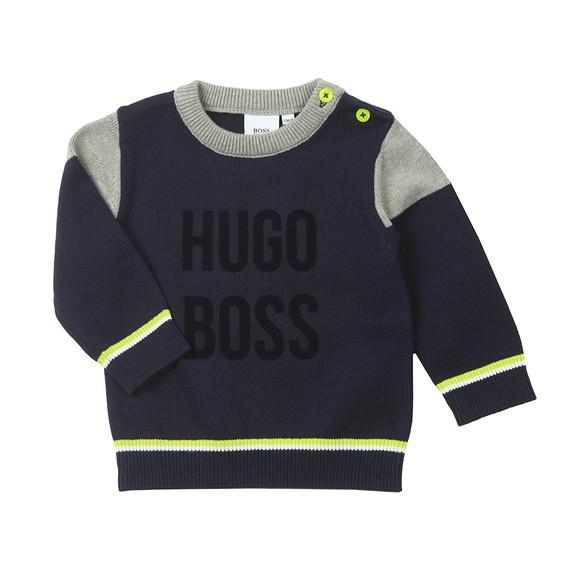 BOSS Baby Boys Blue Shoulder Panel Knitted Jumper