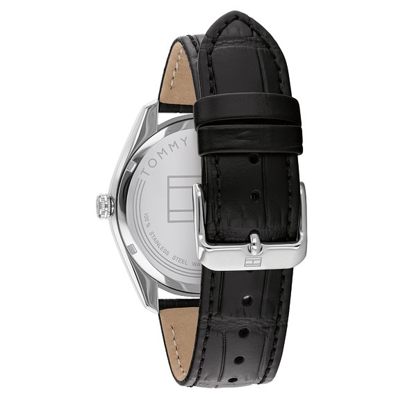 Tommy Hilfiger Mens Black Leather Strap Watch