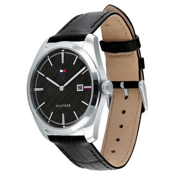 Tommy Hilfiger Mens Black Leather Strap Watch main image