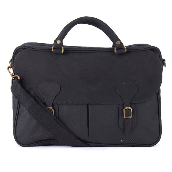 Barbour Lifestyle Mens Black Wax Leather Briefcase