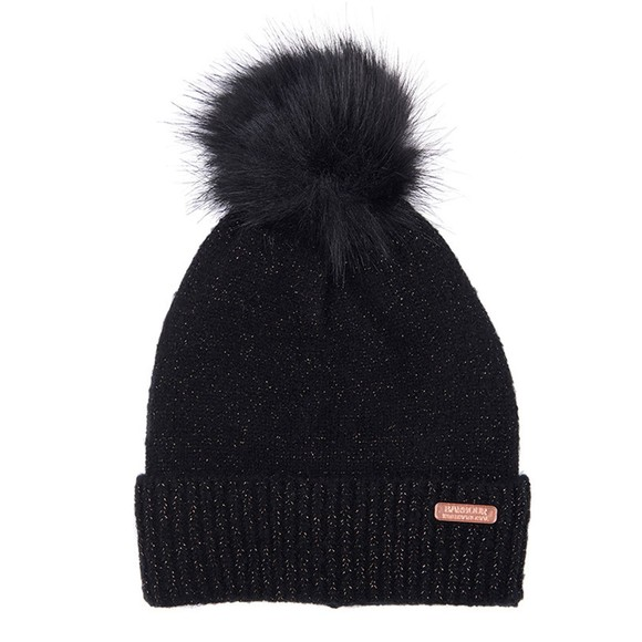 Barbour International Womens Black Sparkle Knit Beanie