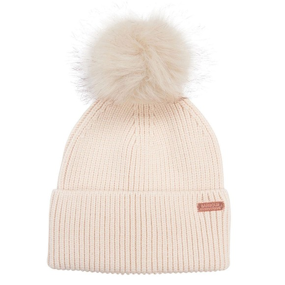 Barbour International Womens Off-White Mallory Pom Pom Beanie