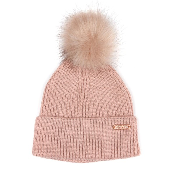 Barbour International Womens Pink Mallory Pom Pom Beanie