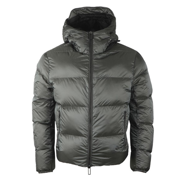 Emporio Armani Mens Grey Down Hooded Jacket