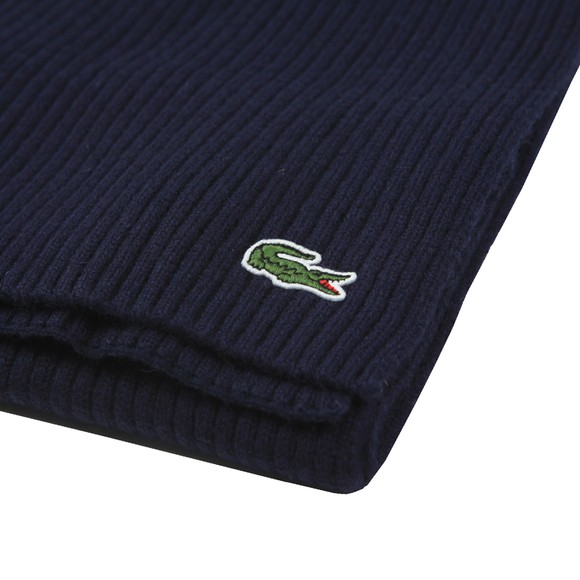 Lacoste Mens Blue Ribbed Scarf