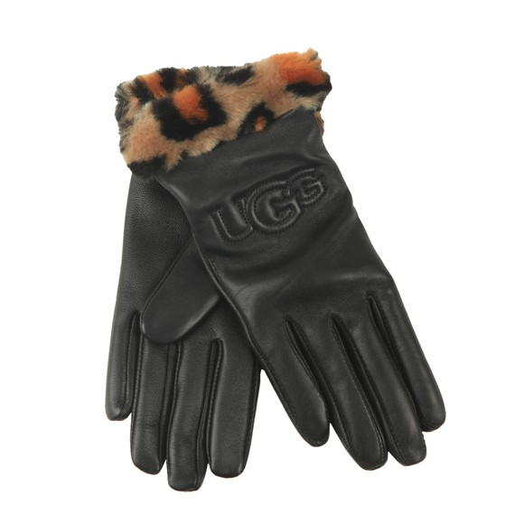 Ugg Womens Black Leather Logo With Faux Fur Cuff Glove