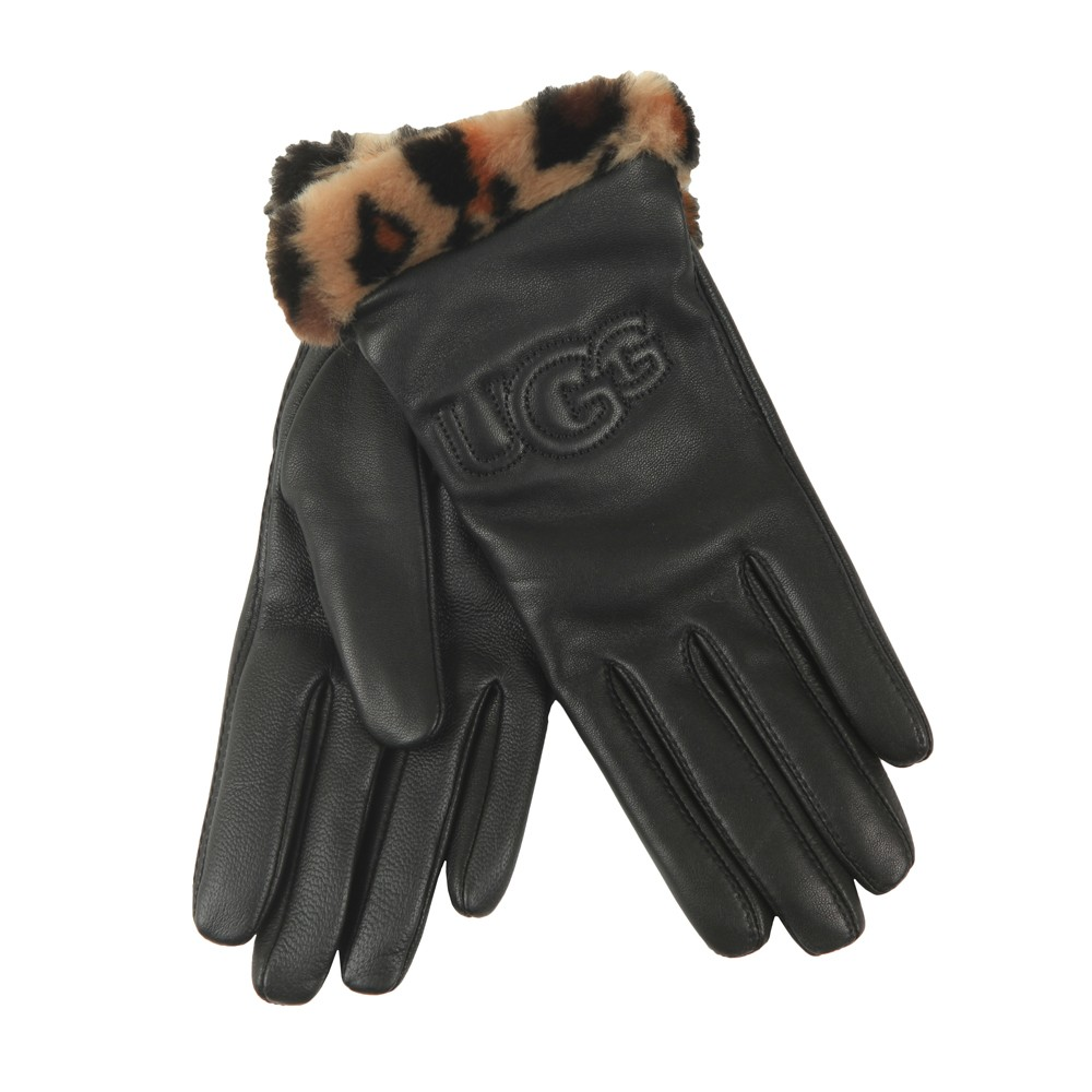 Leather Logo With Faux Fur Cuff Glove main image