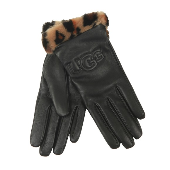 Ugg Womens Black Leather Logo With Faux Fur Cuff Glove main image