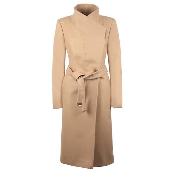 Ted Baker Womens Brown Rose Midi Wool Shoulder Panelled Wrap Coat