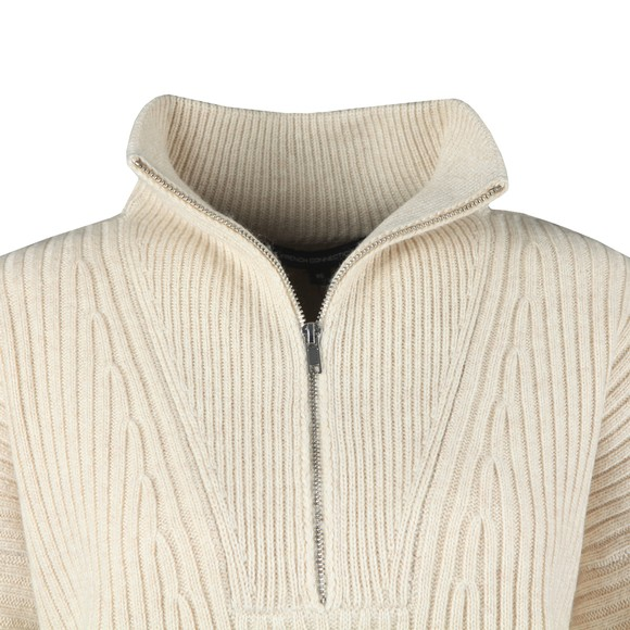 French Connection Womens Beige Lana Knits Half Zip Jumper
