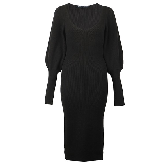 French Connection Womens Black Joss Knits Balloon Sleeve Jumper Dress