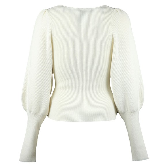 French Connection Womens Off-White Joss Knits Puff Sleeve Jumper