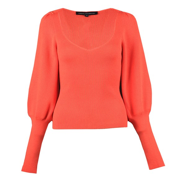French Connection Womens Orange Joss Knits Puff Sleeve Jumper