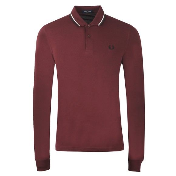 Fred Perry Mens Purple L/S Twin Tipped Polo Shirt