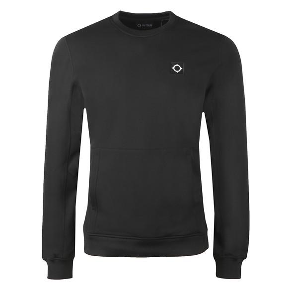 Ma.Strum Mens Black Tech Fleece Crew Sweatshirt