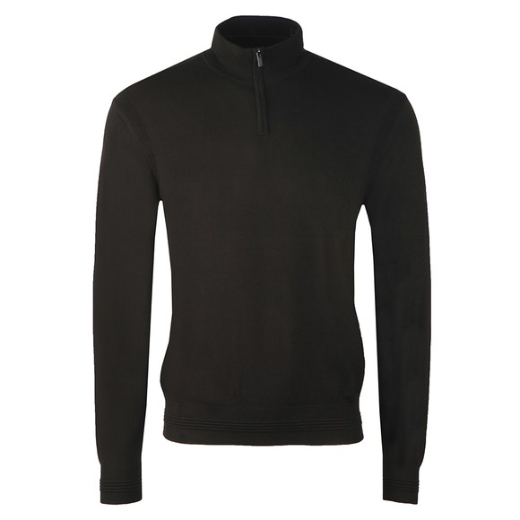 Emporio Armani Mens Brown Half Zip Knitted Jumper