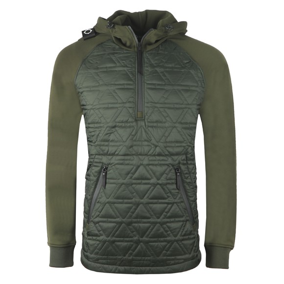 Ma.Strum Mens Green Polygon Quilt Overhead Hoody