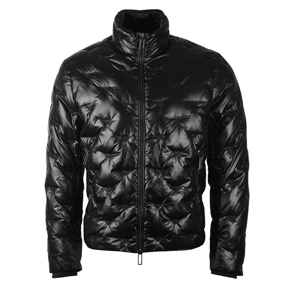 Emporio Armani Mens Black Embroidered Allover Logo Down Jacket