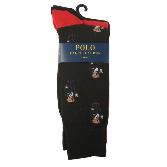 Polo Bear By Ralph Lauren Mens Black Martini Bear 2 Pack Sock