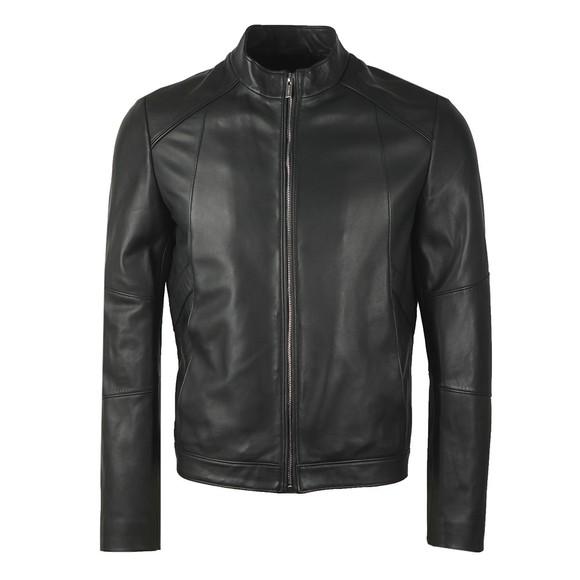 HUGO Mens Black Lonas Leather Jacket