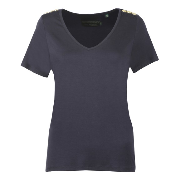 Holland Cooper Womens Blue Relax Fit V Neck T Shirt