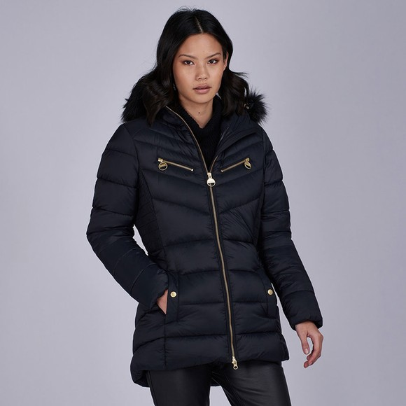 Barbour International Womens Black Grounding Quilted Jacket