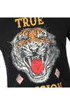 True Religion Mens Black Distressed Tiger Crew Neck T-Shirt