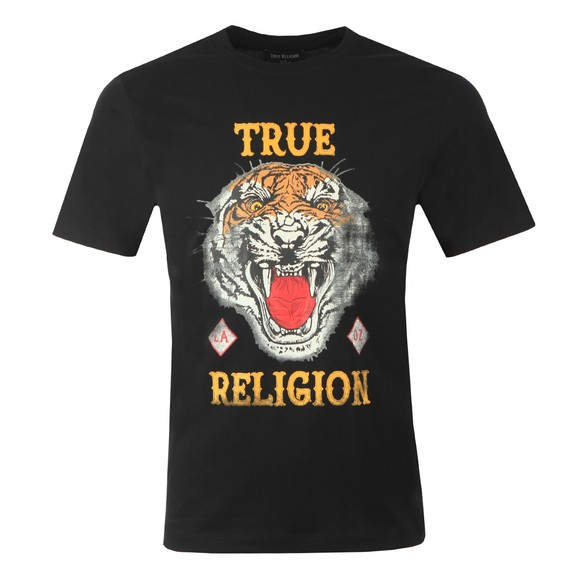 True Religion Mens Black Distressed Tiger Crew Neck T-Shirt