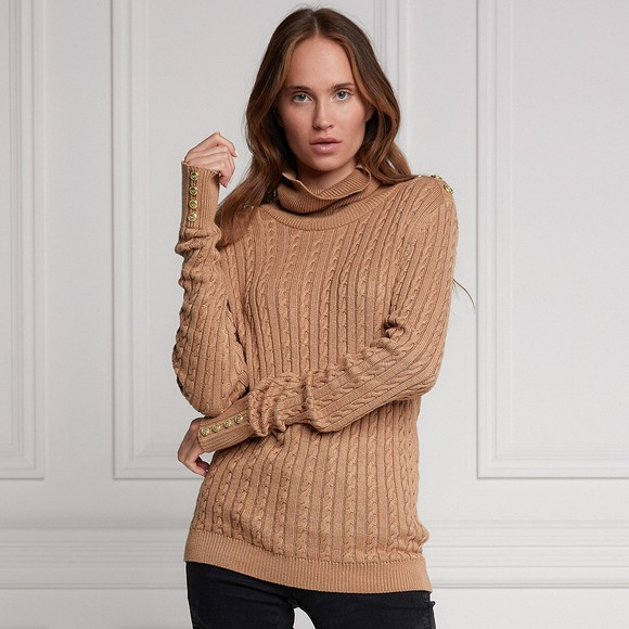 Holland Cooper Womens Brown Seattle Cable Knit