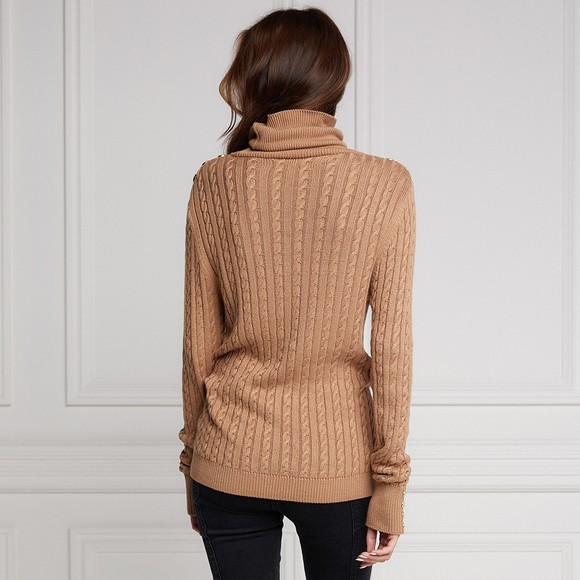 Holland Cooper Womens Brown Seattle Cable Knit  main image