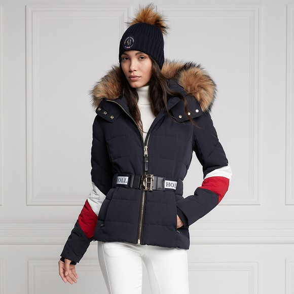 Holland Cooper Womens Blue Aspen Tri Colour Puffer Jacket main image