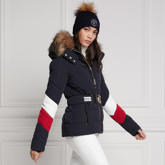 Holland Cooper Womens Blue Aspen Tri Colour Puffer Jacket