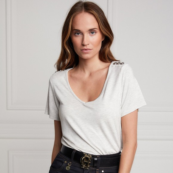Holland Cooper Womens Grey Relax Fit V Neck T Shirt main image