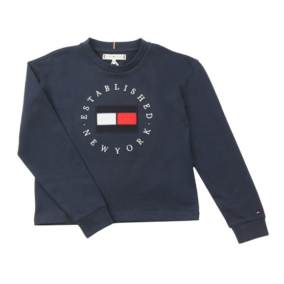 Tommy Hilfiger Kids Girls Blue Girls Essential Logo Long Sleeve T Shirt