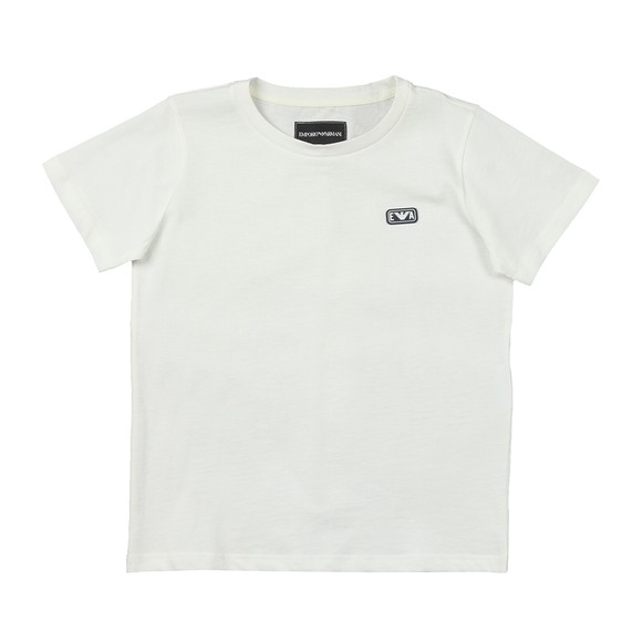 Emporio Armani Boys Off-White Small Rubber Logo T Shirt
