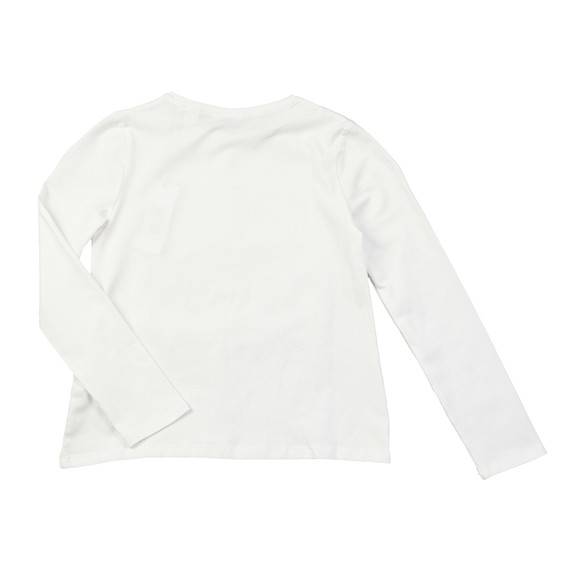 Guess Girls White Catnre Glitter Detail Long Sleeve Top