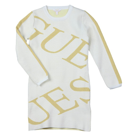 Guess Girls Off-White Logo Long Sleeve Dress