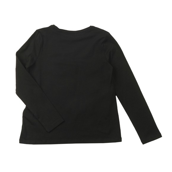 Guess Girls Black Catnre Glitter Detail Long Sleeve Top