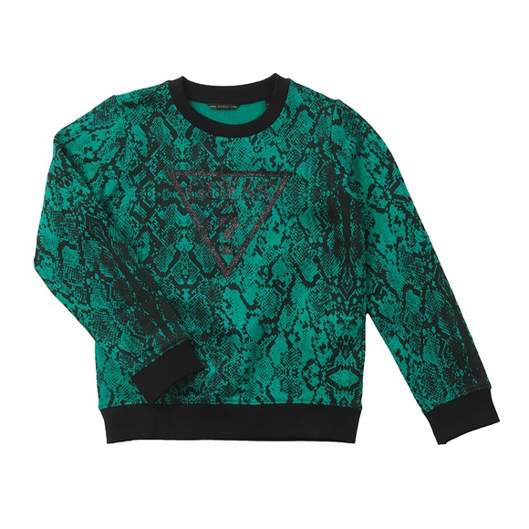 Guess Girls Green Patterned Glitter Logo Sweatshirt