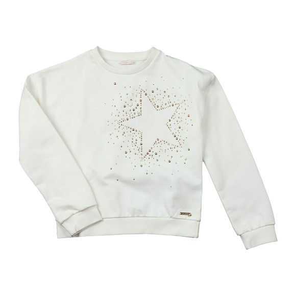 Guess Girls White Star Stud Sweatshirt
