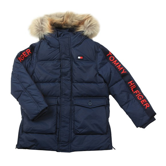 Tommy Hilfiger Kids Boys Blue Arctic Tape Parka