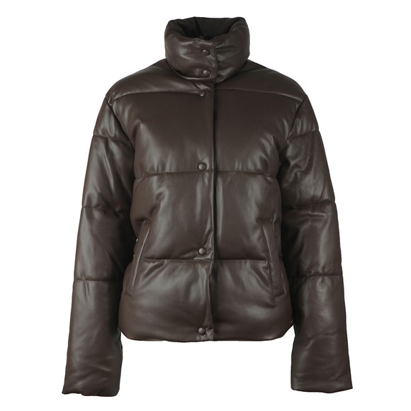 Rino & Pelle Womens Brown Azizi Faux Leather Puffer Jacket main image