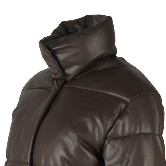 Rino & Pelle Womens Brown Azizi Faux Leather Puffer Jacket