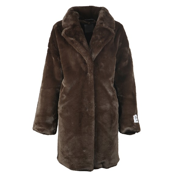 Rino & Pelle Womens Brown Joela Faux Fur Coat
