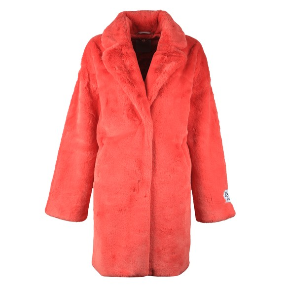 Rino & Pelle Womens Red Joela Faux Fur Coat