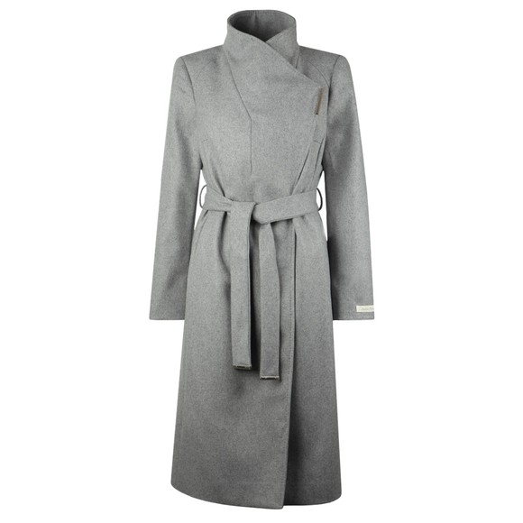 Ted Baker Womens Grey Rose Midi Wool Shoulder Panelled Wrap Coat main image