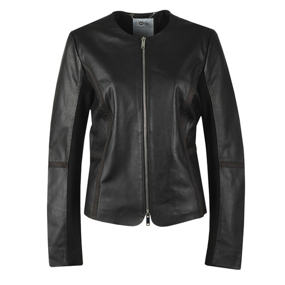 Rino & Pelle Womens Black Torri Leather Jacket With Jersey Panel