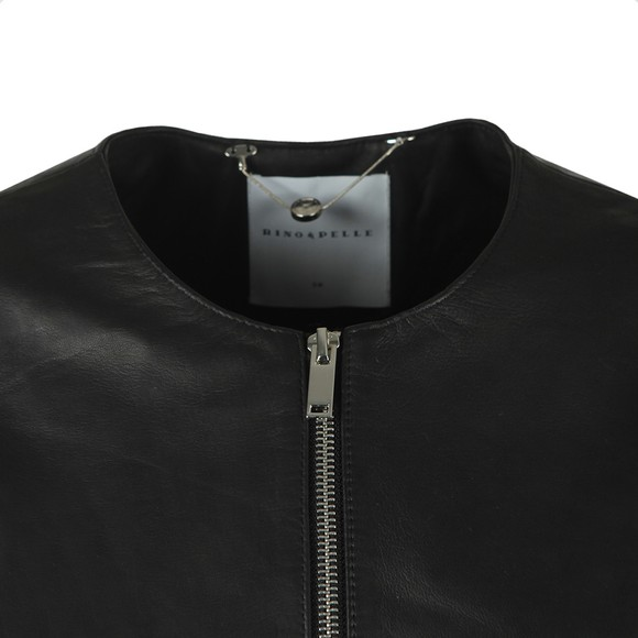 Rino & Pelle Womens Black Torri Leather Jacket With Jersey Panel main image