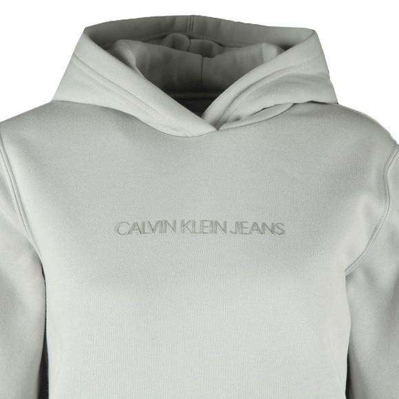 Calvin Klein Jeans Womens Grey Shrunken Logo Hoody