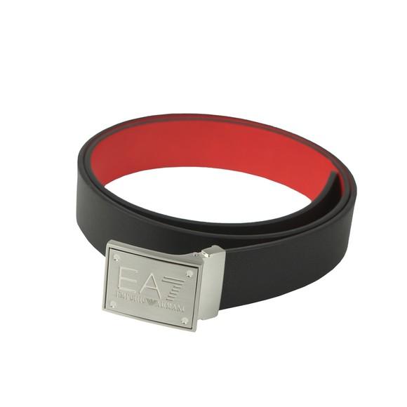 EA7 Emporio Armani Mens Black Plate Logo Belt